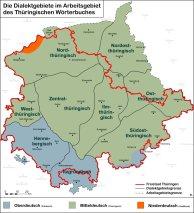 Die Dialektgebiete im Arbeitsgebiet des Thüringischen Wörterbuches (Quelle: Arbeitsstelle Thüringische Dialektforschung)