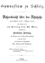 1871-Jahresbericht Gymnasium Rutheneum