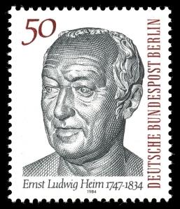 50-Pfennig-Briefmarke zum 150. Todestag von Ernst Ludwig Heim. Quelle: Wikimedia Commons
