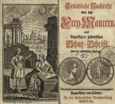 """Exemplar der Veröffentlichung """"Gründliche Nachricht von den Freymaurern"""" (Frankfurt, 1740) mit noch nicht identifiziertem Stempel"""