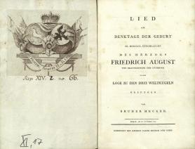 Beispiel einer Huldigungsschrift der Loge zu den drei Weltkugeln für Herzog Friedrich August (Berlin, 1790) mit Exlibris des Geehrten