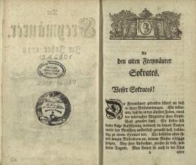 """""""An den alten Freymäurer Sokrates"""", in: """"Der Freymäurer"""" (Leipzig, 1738) mit aufgeklebtem Stempel von Franz von Olfers, der den Bd. den Brüdern der Loge """"Zu den drei Balken des neuen Tempels"""" (Münster) vermacht hat."""