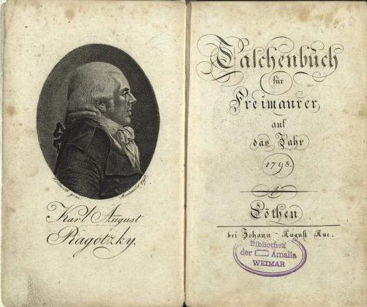 """Exemplar des """"Taschenbuchs für Freimaurer"""" (Köthen, 1798) mit dem Stempel der Weimarer Loge """"Amalia"""" aus dem Bestand der Herzogin Anna Amalia Bibliothek"""