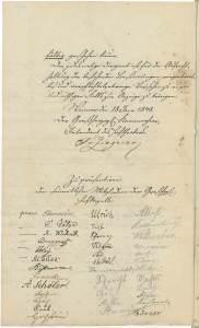 Unterschriften von Orchestermitgliedern auf einem Erlass von 1848. (Thüringisches Hauptstaatsarchiv Weimar, Bestand Kunst und Wissenschaft – A 9604a)