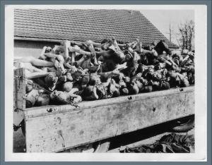 Leichenwagen auf dem Innenhof des KZ Buchenwald. (Quelle: National Archives Washington, Buchenwaldarchiv Signatur: 020-12.007, 16.04.1945, Fotograf: Walter Chichersky http://www.fotoarchiv.buchenwald.de/index.php?id=1160#/fotos/1089)