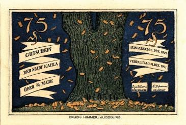 Geldschein von 1921, darauf ein dicker Baum um den es Scheinr regnet