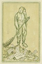 Mann kehrt Zettel mit Sprüchen zusammen