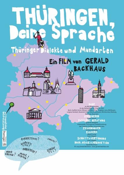 Thüringenkarte mit symbolischen Wahrzeichen, Filmtitel und Angaben zu Beteiligten